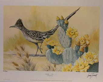 "Signed1971 ""Ready...Set...-Roadrunner"" by Larry Toschik Lithograph Print 16 x 12"