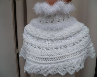 shoulder warmers hand knitted white