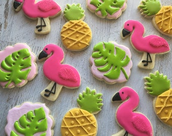 1 Dozen Pink Flamingos and Pineapples Decorated Cookies