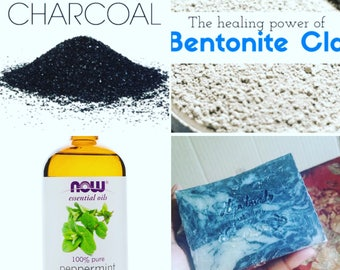 Activated Charcoal and Bentonite Clay Marble Bar For Acne
