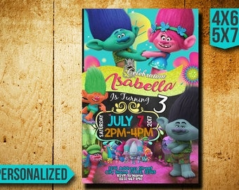 Trolls Invitation / Trolls Birthday Invitation / Disney Trolls / Trolls Birthday Party / Trolls Party / Trolls Printable / Trolls Invites SL
