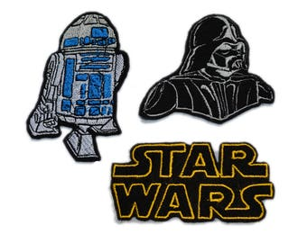 3 Psc STAR WARS Emboidered Iron on Patches, R2D2 robot Star Wars patch, Star Wars  text logo, Darth Vader Embroidered Patch, Movie patch