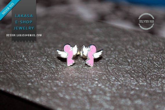 Birds Pink Enamel Studs Earrings Sterling Silver 925 Jewelry for Girls Moda Fun Color Best Gift ideas Cute Animal Birthday Party Tweets