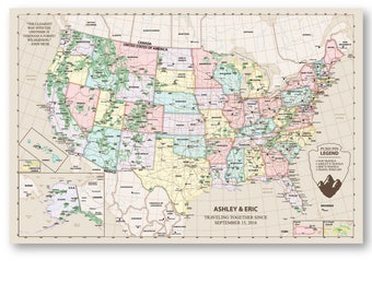 USA Map National ParksSlate Edition Framed Pin MapReady - Us map with national parks