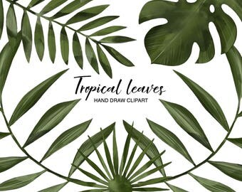 Tropical leaves clipart, Hand draw clip art, Planner, Summer clipart, Watercolor clipart, Digital Clipart, Girl Planner, DIY Stickers