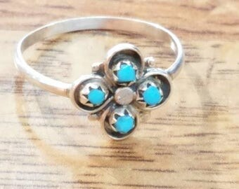 Zuni handmade Sleeping Beauty turquoise with Sterling silver ring