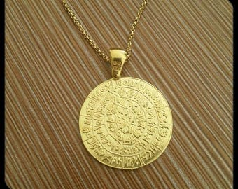 Sterling Silver 925 Necklace - Phaistos Pendant - Ancient Greek Necklace - Phaistos Necklace - Ancient Greek Jewelry - Gold Plated - Chain
