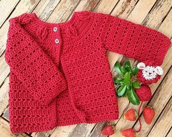 Falling Leaves Cardigan in Red