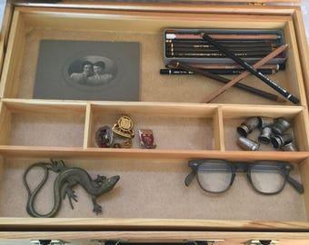 Wood painters box, Vintage curio, Display, Case, Artists box, Sewing box, Collectibles, Mementos, Steampunk, Art loft