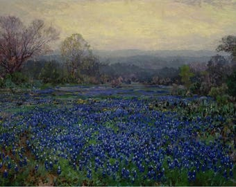 Julian Onderdonk : Field of Bluebonnets (1918) Canvas Gallery Wrapped Wall Art Print