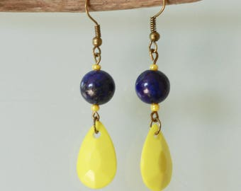 Earrings and lapis lazuli drops yellow