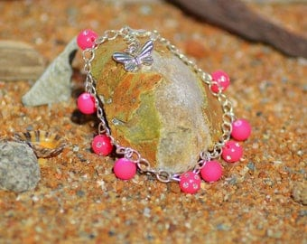 Pink neon beads and Crystal beads bracelet