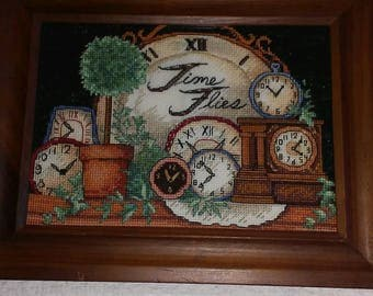 "finished  cross stitch  and wall hangings vintage clocks time flies 6"" x 7"",oak wood frame 7"" x 9"""