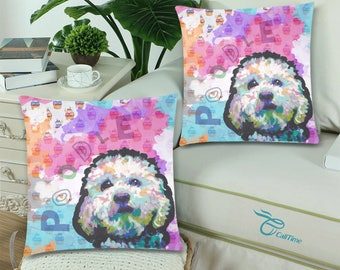 Poodle dog Throw Pillow Cover (set of 2)