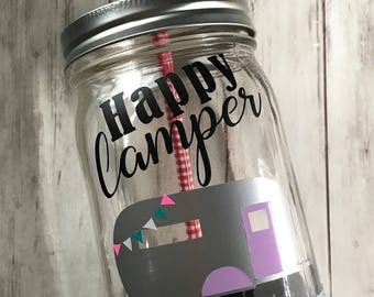 Happy Camper Tumbler With Straw