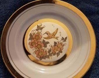 24kt gold Chokin art collector plate-Hummingbird