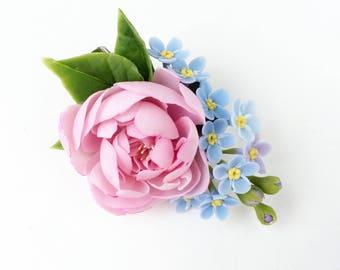 Pink peony hair clip, Pink flower head piece forgetmenot hair clip Pink flower hair barrette rustic wedding child hair clip,blue hairpece