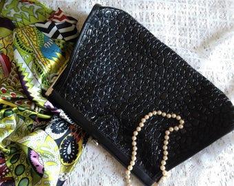 Vintage faux reptile leather bag/clutch 80s
