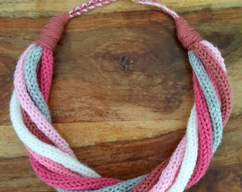 Handmade Knitted necklace / scarf in shades of pink