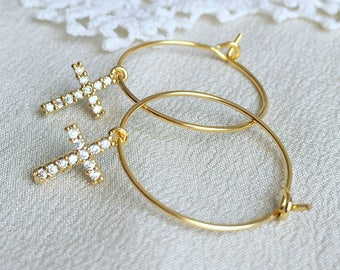 Cross hoop earrings, cubic zirconia, cross charm, cross earrings, dainty earrings, gifts for her, bridesmaid gifts, gold hoop earrings
