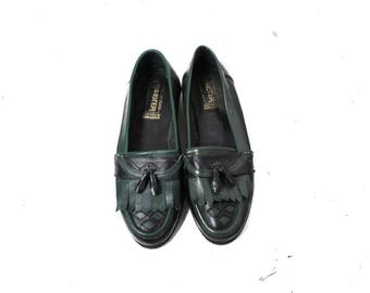 Oxford shoes women, Leather shoes, Leather flats,Loafers, Black leather shoes, Green Leather shoes, Womens brouges / EUR 38, US 7.5 ,UK 5.5