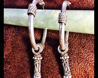 Vintage Silver Tribal Hoop Earrings
