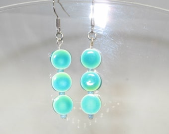 Sea Green Porcelain Glass Hand Crafted Earrings -  Free Shipping USA & Canada!