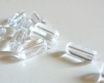 10 clear glass - a basic tube beads