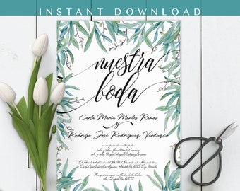 Invitaciones de boda, Spanish wedding Invitation, Greenery, Nuestra Boda, Our wedding. Instant download invite DIY In Spanish