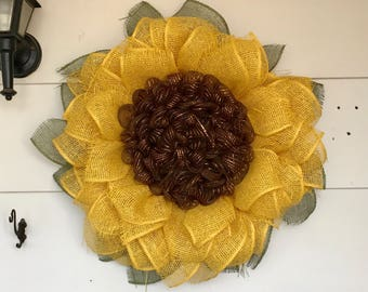 Sunflower wreath, flower wreath, burlap mesh wreath, fall door hanger