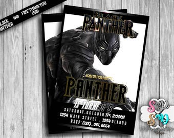 Black Panther Invitation Custom, Super Hero, Avengers, Digital , Printable, Birthday, Party, Card, Thank you card, Free, supplies, Pack, kit