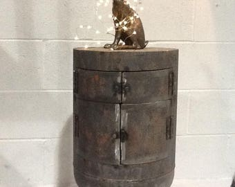 Stunning one of a kind end table or cabinet made from a reclaimed gas bottle
