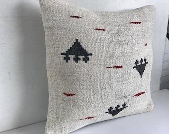 Hemp kilim cushion, Turkish handwoven hemp kilim cushion 45x45 cm