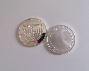 "Hanukkah 2017 Coins. 1 oz. Fine .999 Silver. ""Festival Of Lights"" Keepsake Coin. Free Custom Engraving"