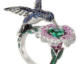 humming bird Ring, Blue,Pink and Green gemstones