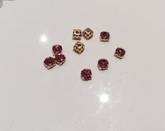Set of 10 rhinestone studded with 6 mm Crystal rose