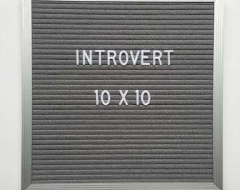 "PROMO - 10x10"" Introvert Letter Board - Aluminim Frame Letter Board with Grey Felt - Messenger Board - Felt Board with 290 Letter Set"