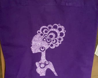 """Tote bag/purse/Tote/shopping purple cotton and """"curly hair woman"""" pattern pink/dark purple glitter"""