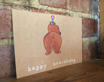 Happy Bearthday - Hand painted greeting card set of 4