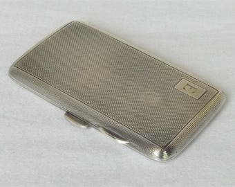 A Fine Solid STERLING Silver cigarette case with leather POUCH BIRMINGHAM 1930