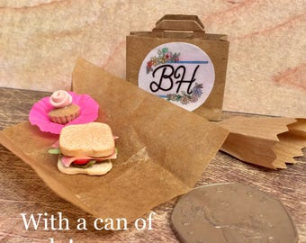 Dolls house miniature food , sandwich and cupcake bagged deli lunch,1.12th scale polymer clay food