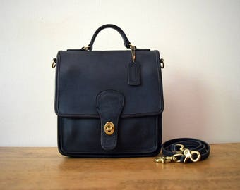 Vintage Coach Station Bag 5130 Navy Blue Leather Made in USA