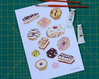 Cakes fine art A4 print