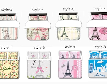 Paris Duvet Cover, Paris Theme Duvet Cover, Paris Duvet Cover Set Toddler, Twin, Queen, King, Queen Duvet Cover, Duvet Cover Queen