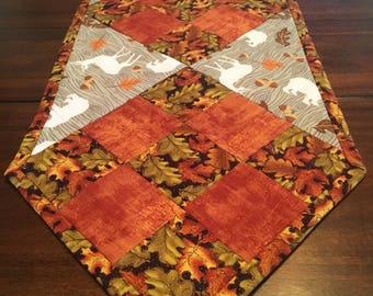 Fall leaves reversible table runner