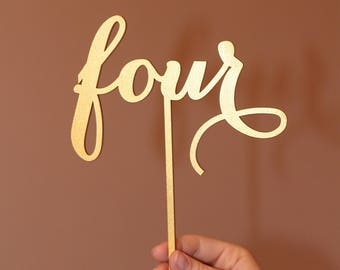 Freestanding table numbers, calligraphy table numbers, wedding table numbers, gold table numbers