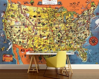 Usa Map Wallpaper Usa Map Wall Decal Usa Map Wall Mural Usa Map