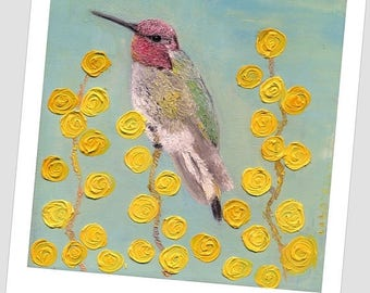 "ON Sale Hummingbird Small bird  Kitchen decor Living room wall art 8x8 """