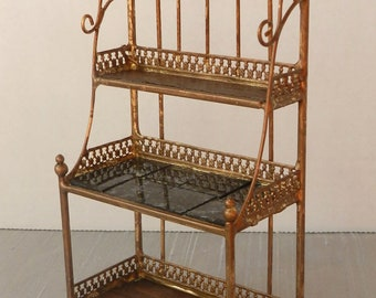 """Artisan Made 1:12 Scale Dollhouse Baker's Rack """"French Country"""""""