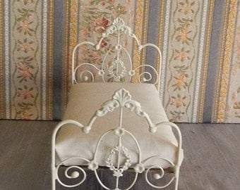 "Artisan Made Dollhouse Miniature Wrought Iron Look Bed ""WILLOW"" 1:12 Scale Twin and Full, Half Scale"